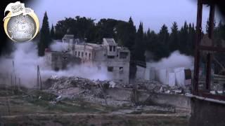 ريف دمشق حرستا تفجير مبنى ادارة المركبات على يد الجيش الحر 17 4 2014