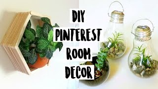 DIY Dollar Pinterest Room Decor 2016 - Light Bulb Terrariums, Hexagon Shelves