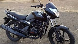 Honda Unicorn 150 BS4 Out look HD image Video Full Views 2018 Black colour | rear mono suspension |