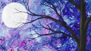 Abstract Moonlit Tree Palette Knife Painting with Acrylics Time Lapse