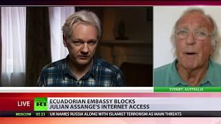 John Pilger: Blocking internet access for Julian Assange is a war on freedom of speech