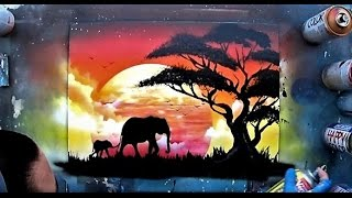 African sunset - Spray paint ART by Skech
