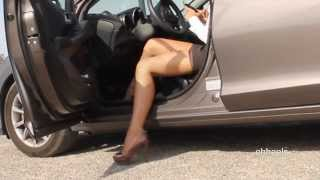 Oh, what a hoot out of the car in high heels.