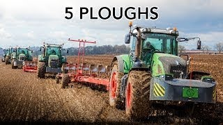 5 Tractors Ploughing Turning on the Headland