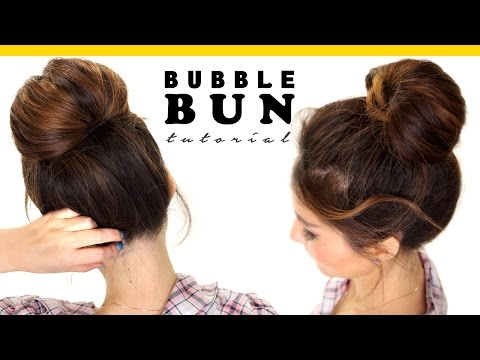 2 Minute BUBBLE BUN Hairstyle Easy Hairstyles for Medium Long Hair