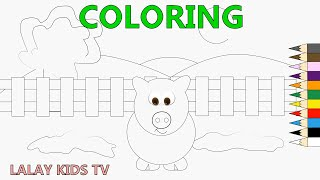 Coloring Pages Farm and Pig - Pig Coloring - Learning Colors for Kids - Farm Animal Coloring