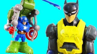 Playskol Heroes Iron Spider Captain America Jungle Copter & Batman Wing Tech Battle Electro