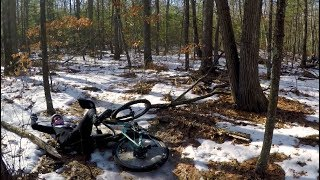 MTB Ice Riding Without STUDDED Tires YIKES!