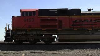 BNSF 9153 East, Pacing Video near Waterman, Illinois on 5-4-2011