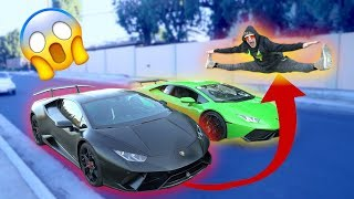 JUMPING TWO SPEEDING LAMBORGHINIS BACK TO BACK! **don't attempt**