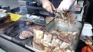 Beef Ribs, Steaks on More Meat Seen in London Old Spitalfields Market. Street Food