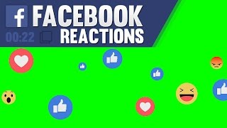 Facebook Live Reactions Animation Overlay (Green & Black Background Screen)