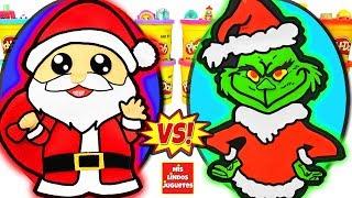 Huevos Sorpresa Gigante de Santa Claus o Papa Noel VS El Grinch de Plastilina Play Doh en Español