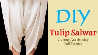 DIY Tulip Salwar Cutting And Stitching Full Tutorial