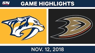 NHL Highlights | Predators vs. Ducks – Nov. 12, 2018