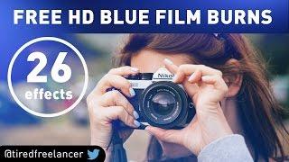 BLUE FILM BURNS - FREE HD - By @tiredfreelancer