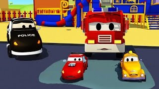Car Patrol in Car City - Fire truck and police car with the Baby Cars stuck