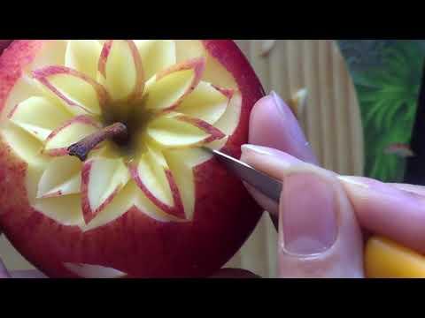 แกะสลักเบื้องต้น ดอกรักเร่ เเอปเปิ้ล How to make a flower from apple