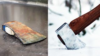 Antique axe restoration with mirror finish - tool restoration
