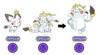 Pichu, Pikachu, Raichu Dragon Type Fanart | Pokemon Type Swap #41