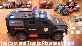 Toy Cars and Trucks Playtime Video! Police Cars, Fire Trucks and more. A Gatling Toy Gun!