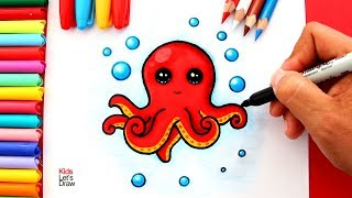 Aprende a dibujar y pintar un PULPO Kawaii | How to draw a Cute Octopus Easy