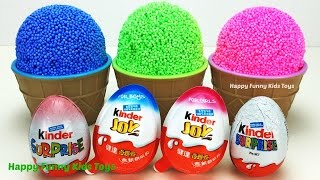 Learn Colors Play Foam Ice Cream Cups Kinder Joy Kinder Egg Surprise Toys Barbie TMNT Fun for Kids