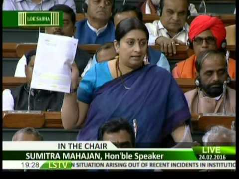 Xxx Mp4 Smt Smriti Irani S Speech In Reply To Debate On JNU And Rohith Vemula Issues 24 02 2016 3gp Sex