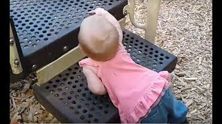 """Unbelievable..1 YR OLD BABY Alison masters the steps and """"expertly"""" slides down!"""