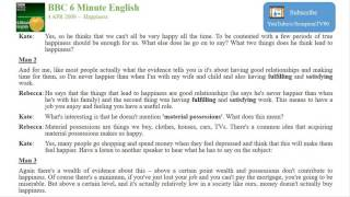 BBC 6 Minute English   Happiness 9 April 2009   YouTube