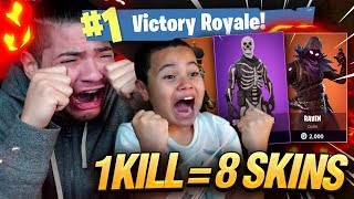 1 KILL = 8 FREE SKINS FOR MY 9 YEAR OLD LITTLE BROTHER! 9 YEAR OLD PLAYS  FORTNITE BATTLE ROYALE!