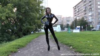 Ballet heels - Markissa walking in ballet boots and latex catsuit near business center area
