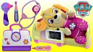 PAW PATROL Pup Skye Gets Hurt and Visits Disney Jr. Doc McStuffins Toy Hospital Ambulance!