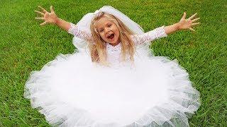 Diana dresses the wedding dress