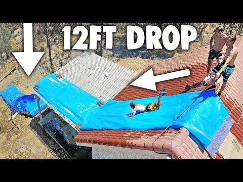 100FT ROOFTOP MEGA SLIP N SLIDE HUGE DROP
