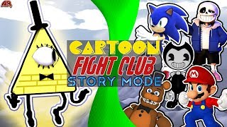 Cartoon Fight Club STORY MODE: Bill Cipher vs Poster Boys! (Bill vs Sans, Sonic, Mario, Freddy)