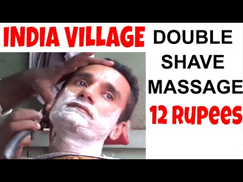 DOUBLE SHAVE & Massage for 12 Rupees - Street of Indian Village