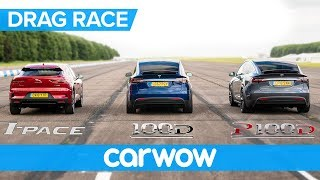 Jaguar I-Pace vs Tesla Model X 100D & P100D - DRAG RACE, ROLLING RACE AND BRAKE TEST