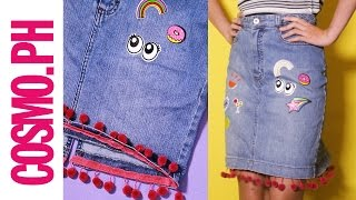 DIY Patch Denim Skirt With Pom-Pom Hem