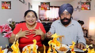 PUNJABI PARENTS TRY SPICY KOREAN RAMEN NOODLES | FIRE NOODLE CHALLENGE (INDIAN PARENTS VERSION)