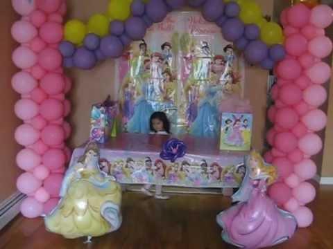 Decoracion con globos de princesas