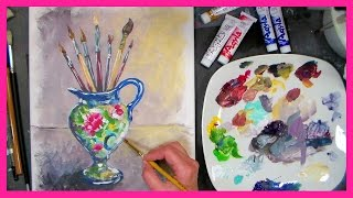 Pitcher of Brushes Painting Beginner Tutorial in Acrylic/Oil Using Aqyla Paint