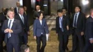 Taiwan's president in US for business summit