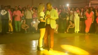 Excellent Dance beautiful white girl moves in dancing with many men
