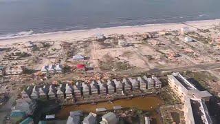Mexico beach destruction, aerial video