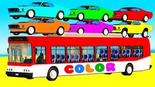 COLOR Cars on BUS & Spiderman Cartoon 3D for Kids w Superheroes for babies
