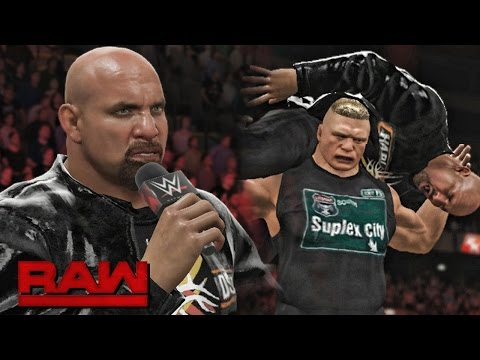 WWE RAW 2K17 Goldberg Returns and Accepts Lesnar Challenge and Lesnar Attack Goldberg 10 17 16