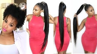 How to do a Quick Weave Long Ponytail on Short Natural Hair!
