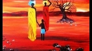 Acrylic painting on canvas AfricanArt Sunset for Beginners