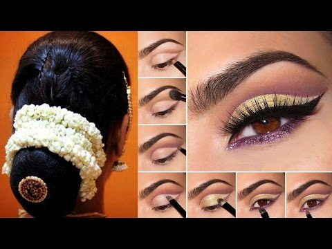 Xxx Mp4 South Indian Bridal Makeup And Hairstyle Tutorial Simple Bridal Bun Hairstyle Amp Makeup For Reception 3gp Sex